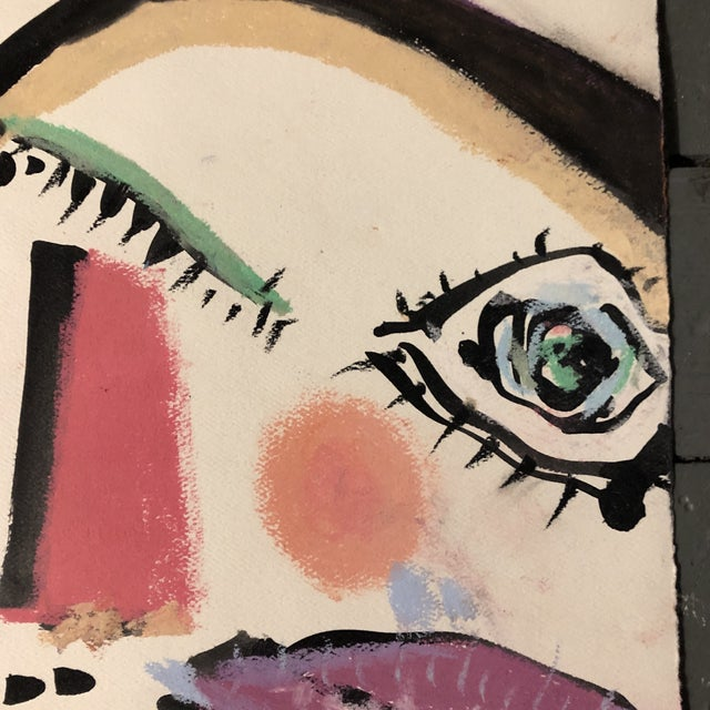 Abstract Original Contemporary Robert Cooke Abstract Face Painting Heightened With Pastel For Sale - Image 3 of 5