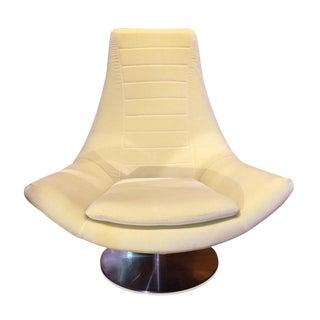 Mid Century Style Italian Swivel Lounge Chair For Sale