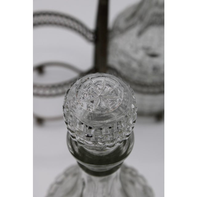 Early 20th Century Antique English Crystal Cruet Two Bottle Decanter Set For Sale - Image 5 of 10