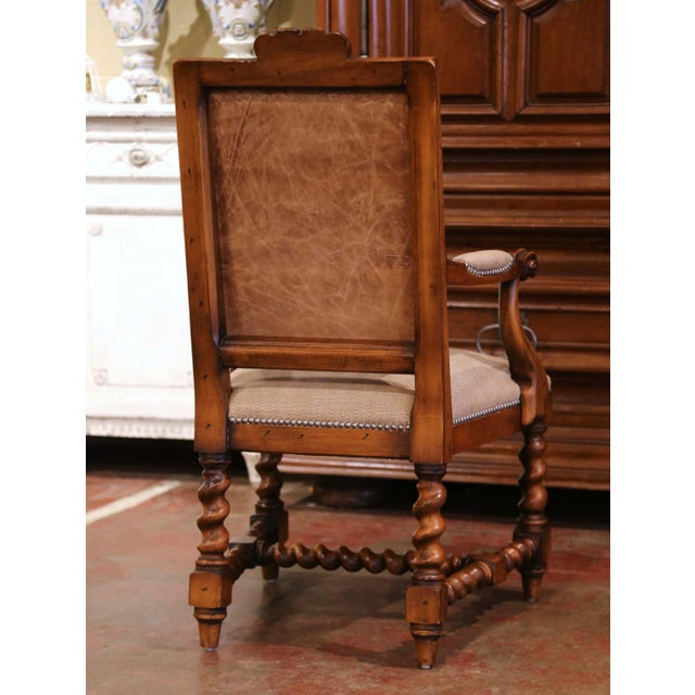 Suite of Twelve Carved Walnut Chairs From Ralph Lauren With Chenille and Leather For Sale - Image 10 of 13
