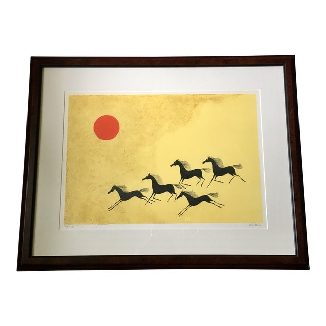 Framed Mustang Lithograph by Keith DeCarlo For Sale