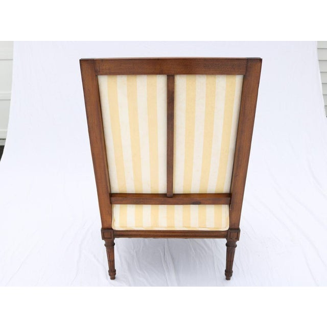 Louis XVI Style Striped Upholstery Walnut Bergère - Image 8 of 11