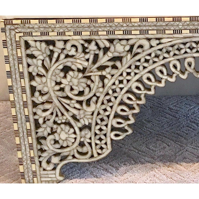 Metal Mother of Pearl Inlay Bench For Sale - Image 7 of 8