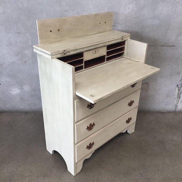 Early American Antique White Secretary Dresser For Sale - Image 5 of 11