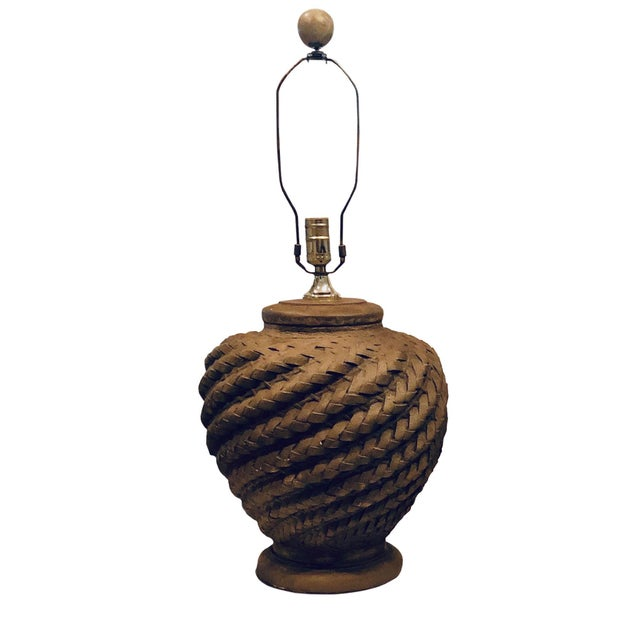 A wonderful pair of round mid century rattan lamps. These will work in any mid century room or with todays boho chic decor.