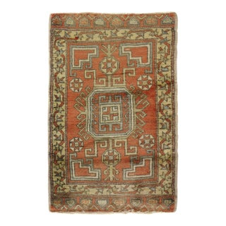"Vintage Turkish Hand Knotted Yastik - 1'10"" X 2'11"" For Sale"