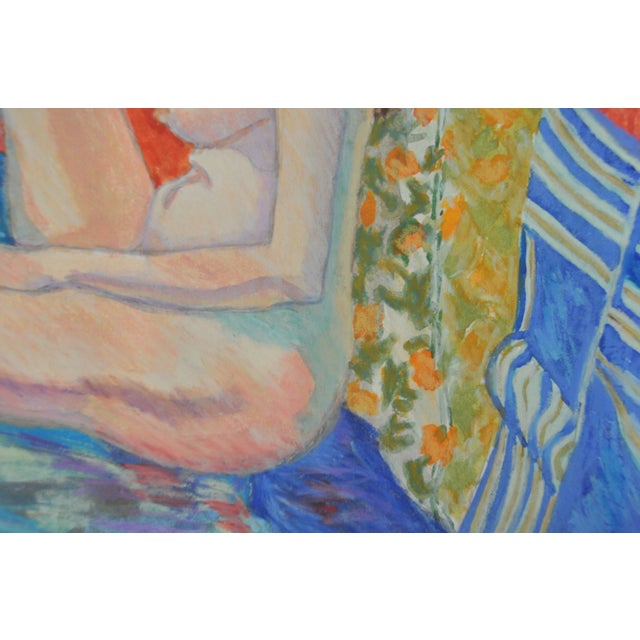 """Expressionism Esther Akrish """"Pensive"""" Original Watercolor For Sale - Image 3 of 4"""