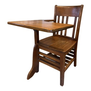 Vintage American Solid Oak Desk with Chair For Sale