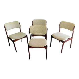 Mid-Century Modern Erik Buch Set of Four Danish Rosewood Dining Chairs by Oddense Maskinsnedkeri For Sale