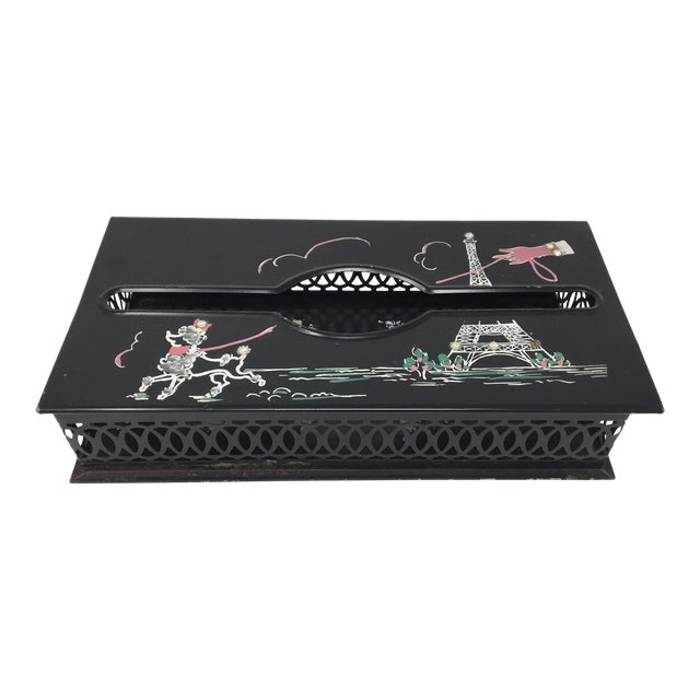 Vintage Mid-Century Paris Scene Black and Pink Metal Tissue Holder For Sale