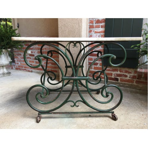 Antique French pastry baker's table scrolled iron marble top art nouveau green. Direct from France. Highly-sought-after...