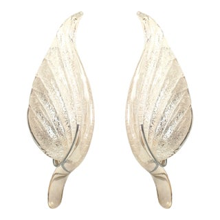 Italian Murano Silver Dusted Glass Wall Sconces - a Pair For Sale