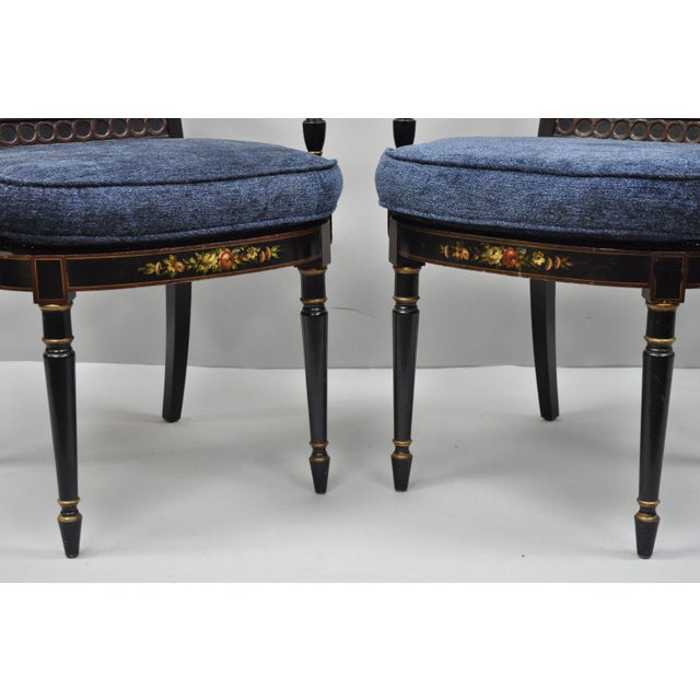 Early 21st Century Antique English Regency Style Black Lacquer Cane Armchairs- A Pair For Sale - Image 4 of 12