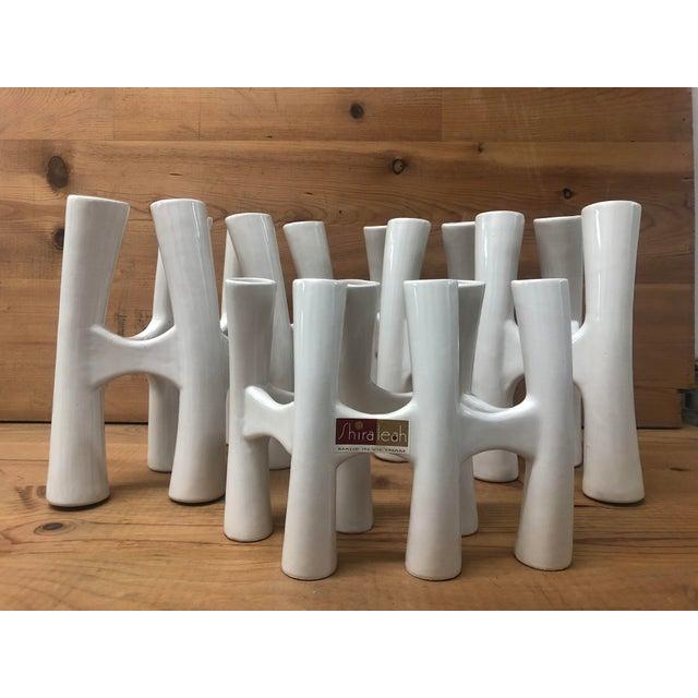 Vintage White Coral Vase Flower Ceramic Vases - 3 Piece Set For Sale - Image 11 of 11