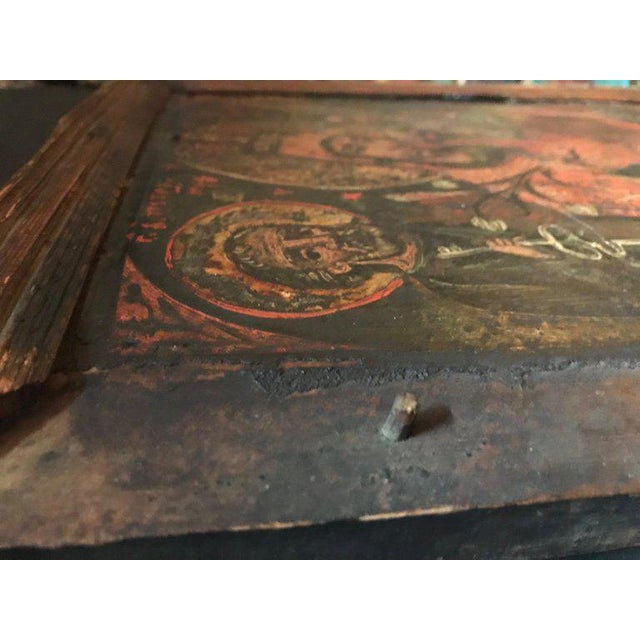 Red 17th Century Antique Russian Orthodox Painting For Sale - Image 8 of 13
