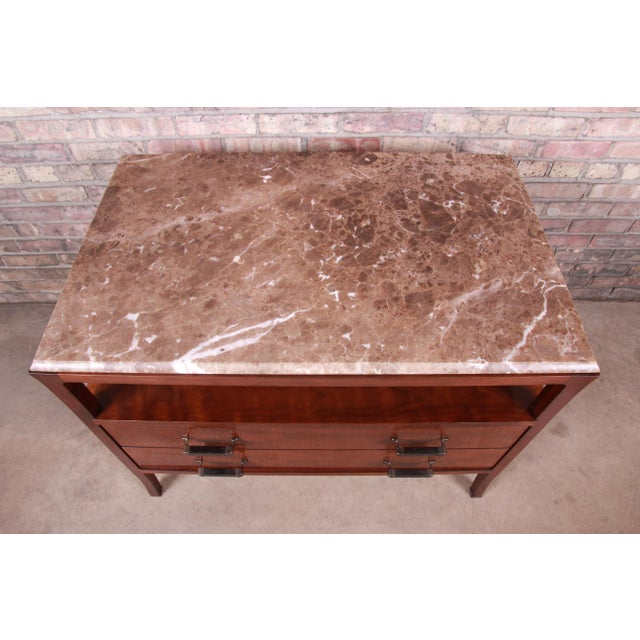 Brown Baker Furniture Modern Mahogany Marble Top Buffet Server For Sale - Image 8 of 13