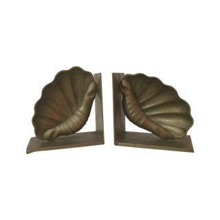 1960's Modern Shell Brass Bookends For Sale