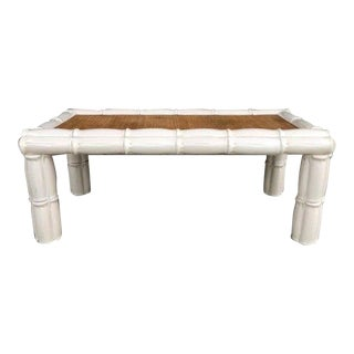 1950s Italian Palm Beach Style Blanc De Chine Terracotta Faux Bamboo Table For Sale
