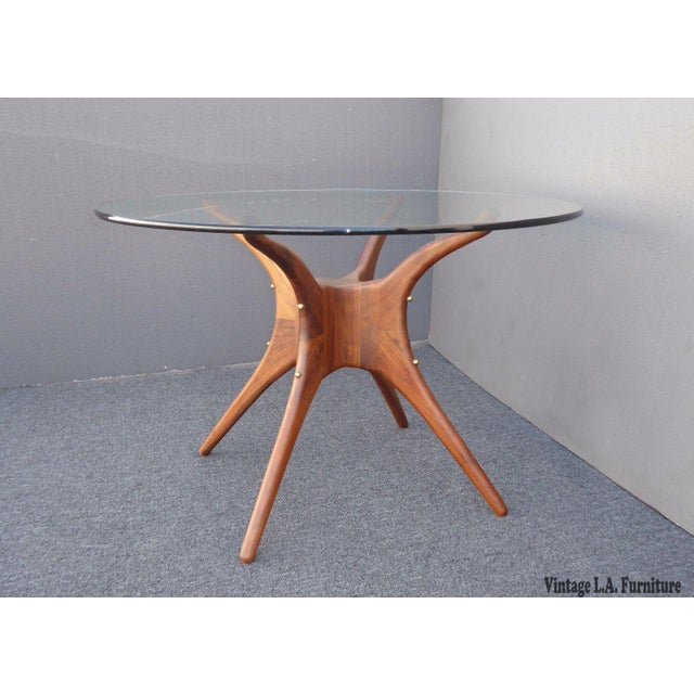 """Danish Modern Organic Modernism Carved Walnut Pedestal Glass Top Dining Table - Made in the USA Measurements: 28 1/2""""T x..."""
