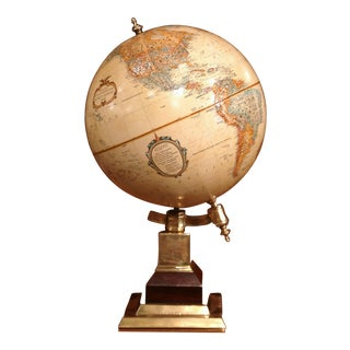 Mid-20th Century American Terrestrial Globe on Brass Base by LeRoy M. Tolman