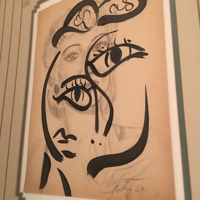 Peter Keil Early Mixed Media Drawing Painting For Sale In Atlanta - Image 6 of 12