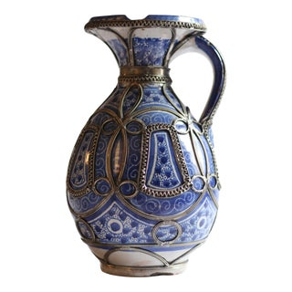 Vintage White and Blue Ceramic Moroccan Jug / Handled Pitcher With Silver Overlay For Sale
