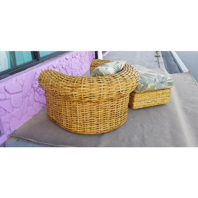XL- Ralph Lauren Tropical Woven Rattan Chair and Ottoman For Sale - Image 4 of 13