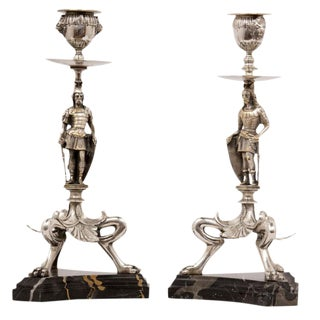 Mid 19th Century Renaissance Revival Silver Plated Candlesticks - a Pair For Sale