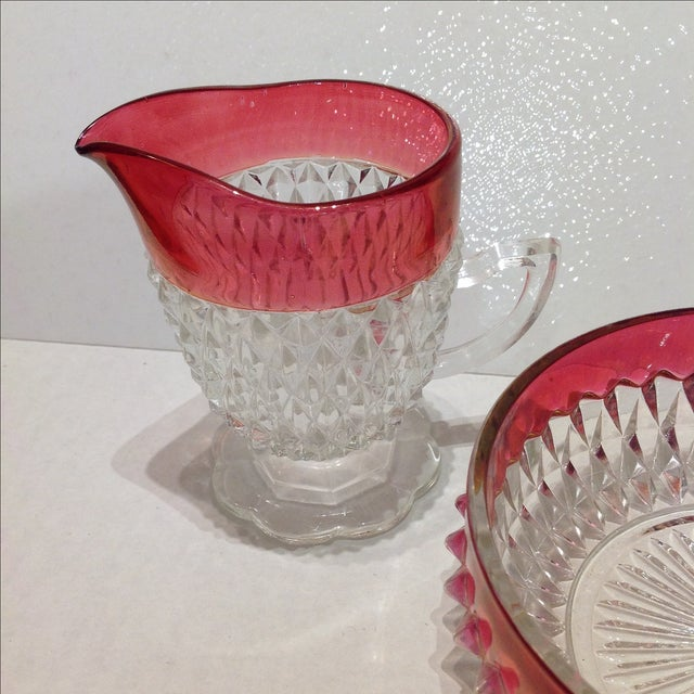 Vintage Ruby Flash Diamond Point Glass Condiment Set - S/3 For Sale - Image 5 of 7