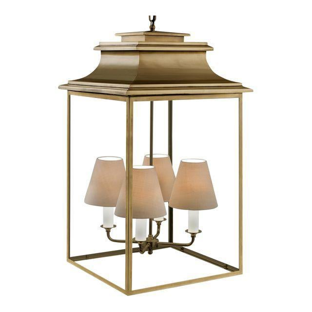Mid-Century Modern 4 Candle Antique Brass Lantern For Sale - Image 3 of 3