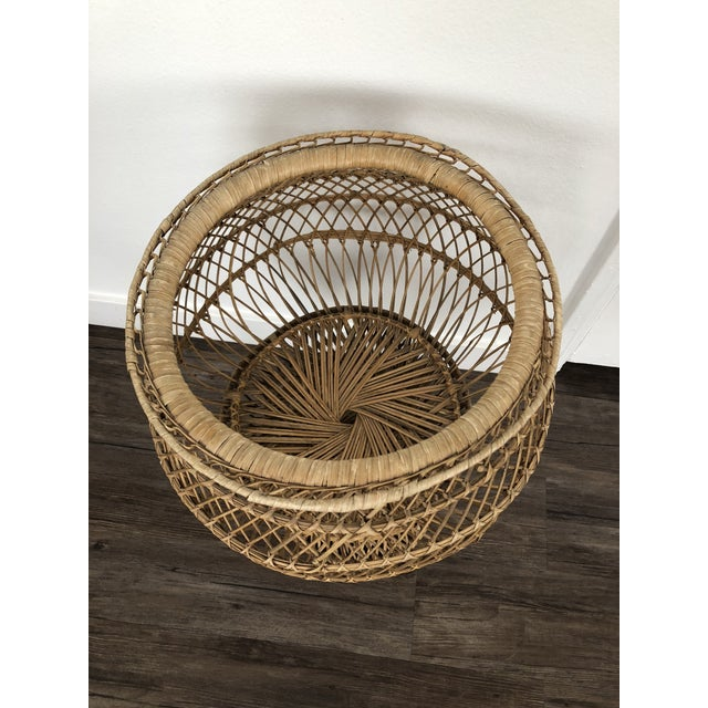 1970s Vintage 1970's Natural Woven Wicker Rattan Boho Planter For Sale - Image 5 of 8