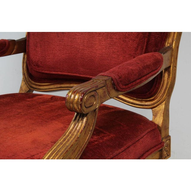 Hollywood Regency Red Velvet Bergere Armchairs Dining Chairs - Set of 4 For Sale In Atlanta - Image 6 of 13