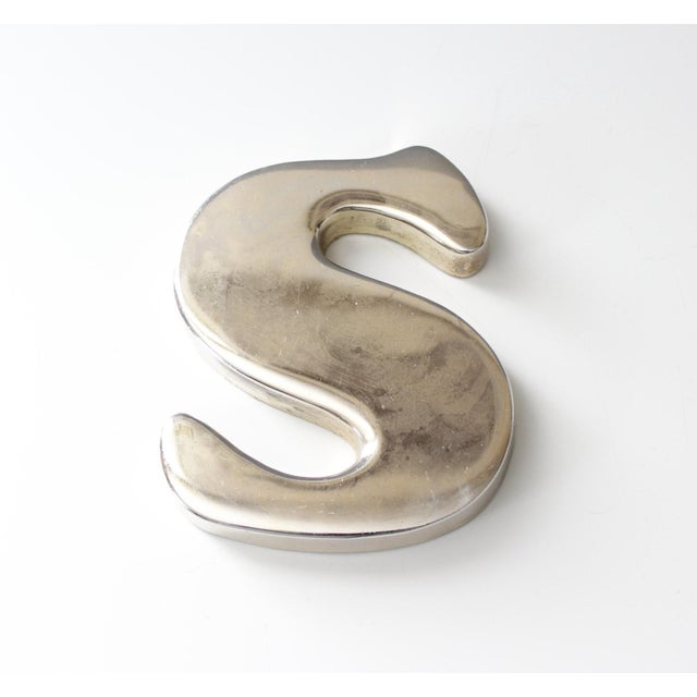 Vintage Chrome Letter S Paperweight Typography Office Decor - Image 3 of 6
