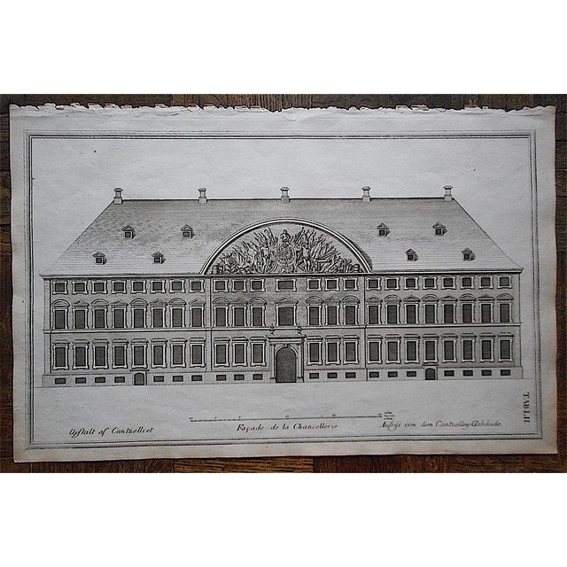 Antique Engraving Facade & Floorplan Lg. Folio - Image 2 of 3