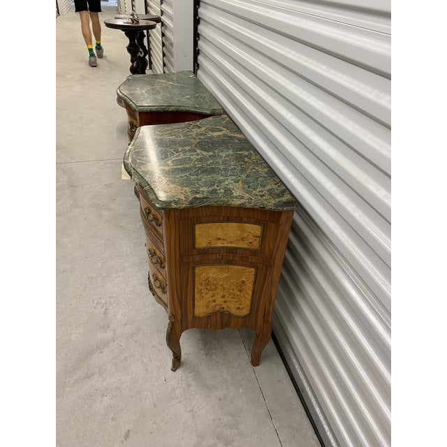 Metal Vintage French Marble Top Nightstands - a Pair For Sale - Image 7 of 12