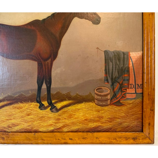 19th Century Equestrian Stall Oil Painting, Framed For Sale - Image 9 of 13