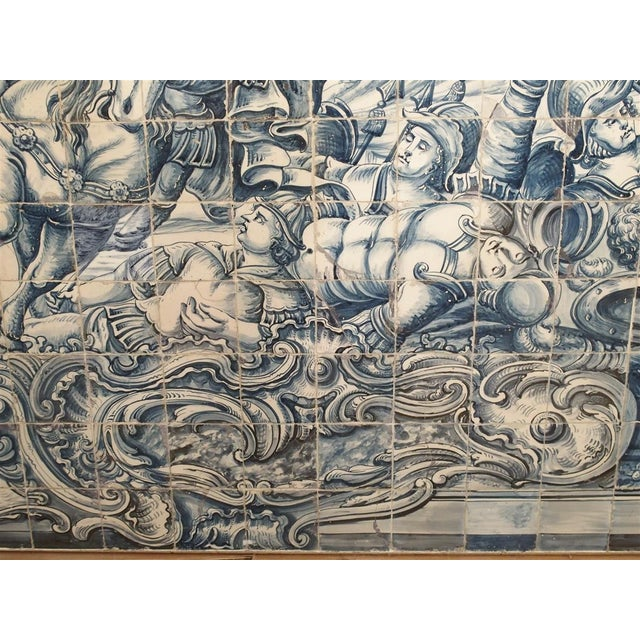White Monumental 3-Piece 18th Century Azulejo Mural Panel From Portugal For Sale - Image 8 of 13