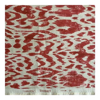 "Red Thibaut ""Carlotta"" Ikat Linen Fabric- 1 Plus Yard For Sale"
