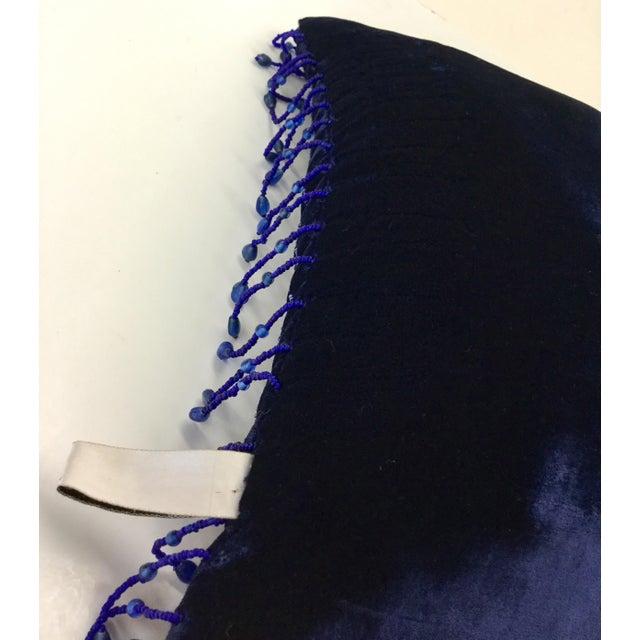 Navy Blue Panne Velvet Beaded and Fringe Throw Pillow For Sale - Image 8 of 10