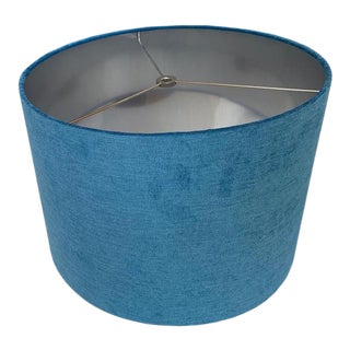 Custom Blue Velvet Drum Lampshade with Silver Interior For Sale