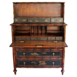 Vintage Safari Chinoiserie Secretary Desk