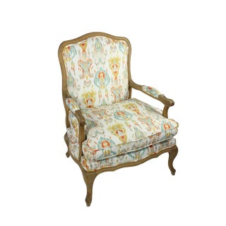 Louis XIV Style Reupholstered Ikat Designer Fabric Chair For Sale