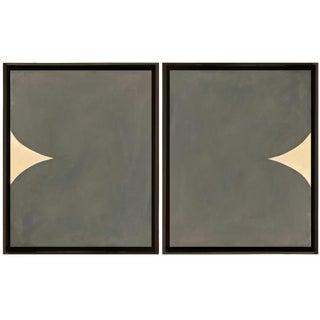 Framed Original Abstract Paintings by Brooks Burns - Set of Two For Sale