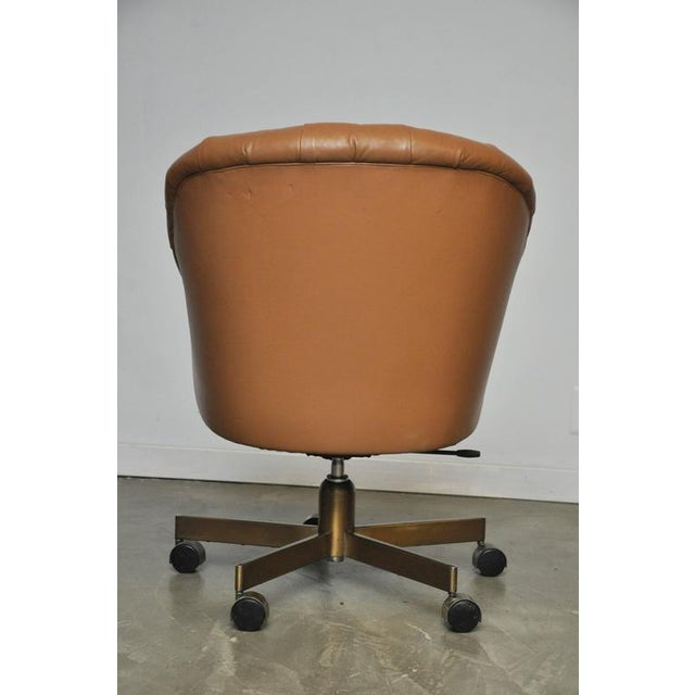 Dunbar Tufted Leather Desk Chair on Bronze Base by Edward Wormley - Image 5 of 6