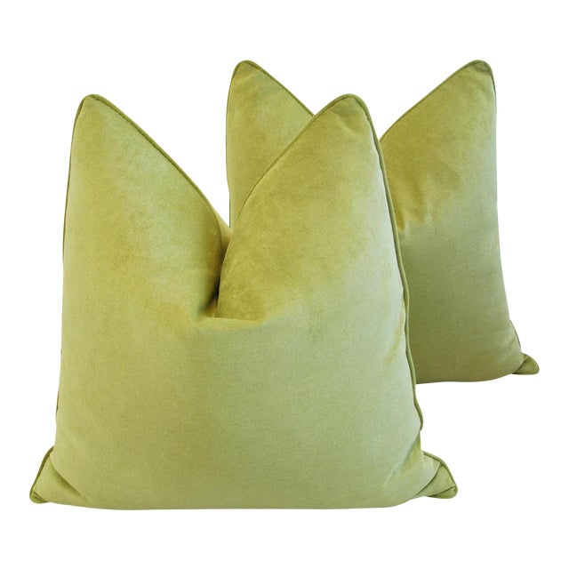 Custom Tailored Apple Green Velvet Feather/Down Pillows - A Pair For Sale