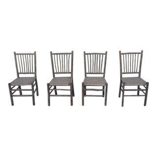 Signed Old Hickory Original Grey Painted Hickory Chairs For Sale