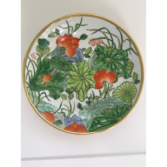 Chinoiserie Floral Hand Painted Porcelain Brass Encased Bowl/Catchall - Made in Japan For Sale - Image 12 of 12