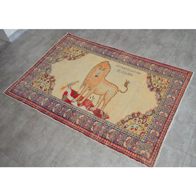 Offered is a gorgeous and rare Turkish vintage Animalia rug, made in Anatolia approximately 60-70 years ago. The rare wool...