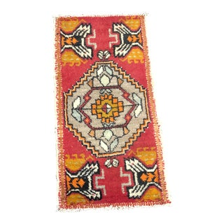 Aztec Vintage Red Turkish Handmade Wool Rug For Sale