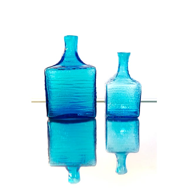 Blenko Blenko|• 6224l & 6224s Turquoise Blown Art Glass Decanters / Vases by Wayne Husted For Sale - Image 4 of 13